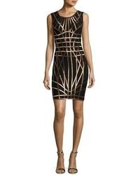 Herve Leger Romee Metallic Caging Bodycon Dress