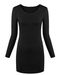 Romwe Round Neck Long Sleeves Black Bodycon Dress