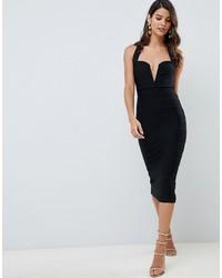 ASOS DESIGN V Bar Bandage Midi Bodycon Dress