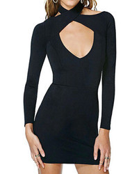 Romwe V Neck Crossed Straps Bodycon Black Dress