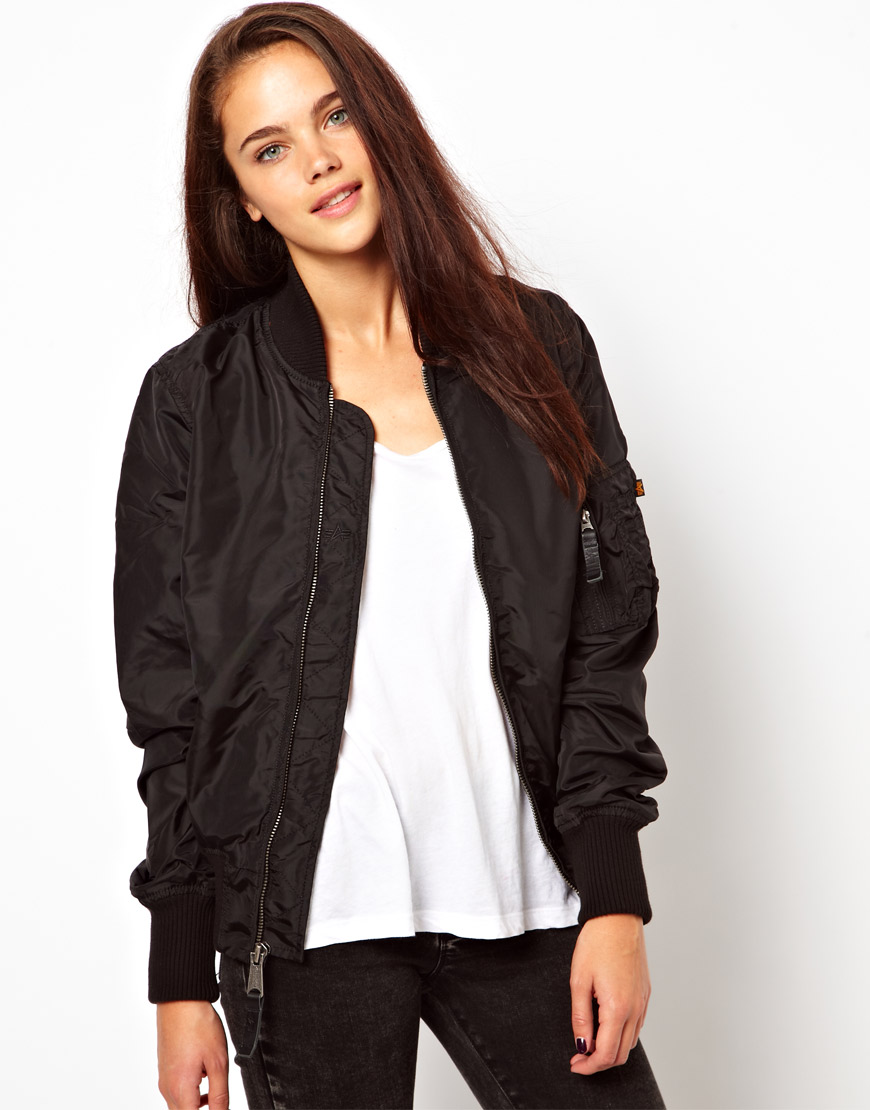 Black Bomber Jacket Alpha Industries Ma1 Bomber Jacket ...