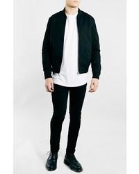 Black cotton bomber jacket