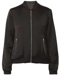 Black Ribbed Hem Bomber Jacket