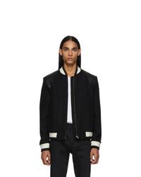 Saint Laurent Black Wool Varsity Bomber Jacket