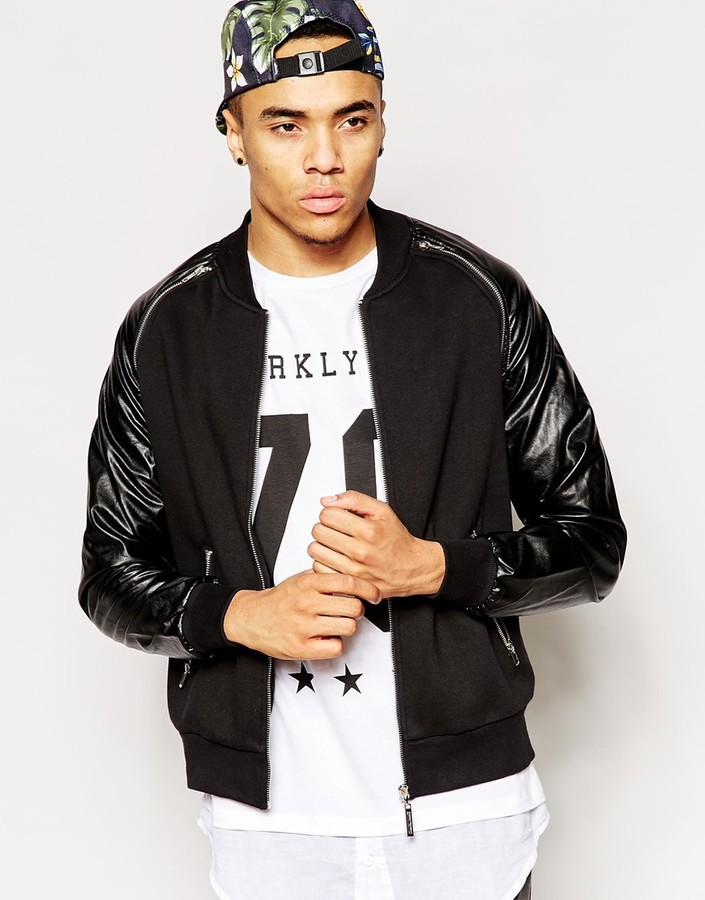 Criminal Damage Bomber Jacket With Leather Look Sleeves | Where to ...