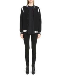 Contrast knit trim logo bomber jacket medium 3694647
