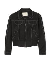 Maje Cropped Cotton Blend Bomber Jacket