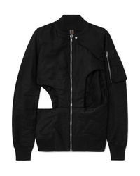 Rick Owens Cutout Cotton Canvas Bomber Jacket
