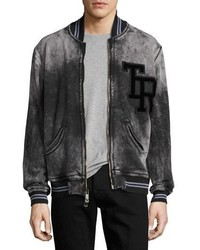 True Religion Decayed Tr Varsity Bomber Jacket Blackcharcoal