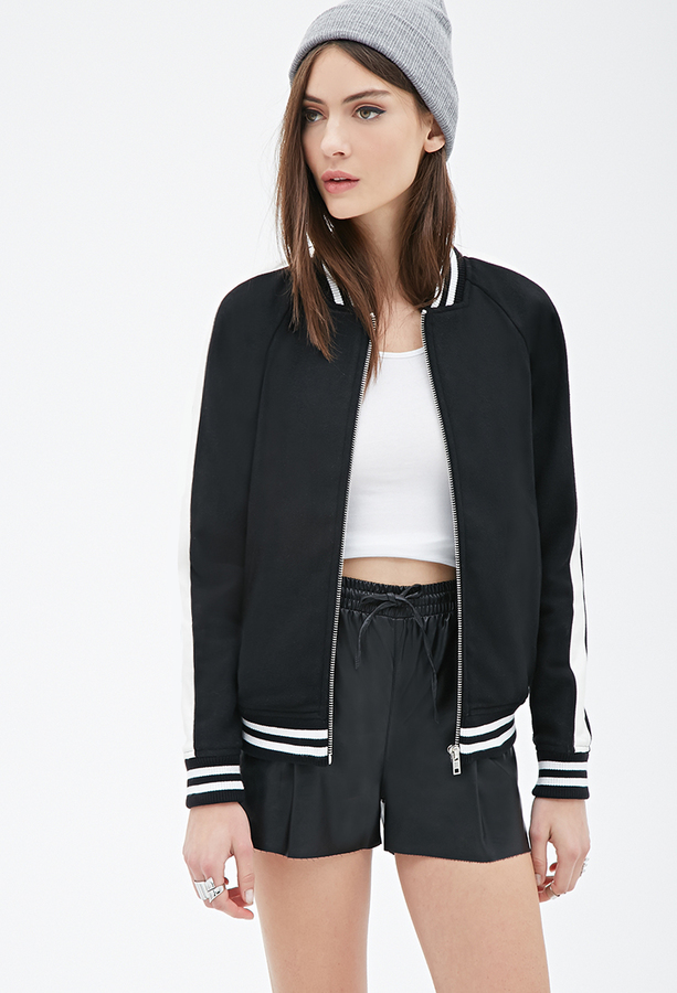 af87ef6621f Forever 21 Faux Leather Trimmed Varsity Jacket