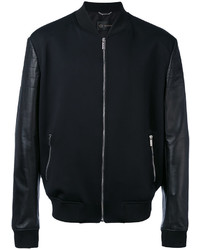 Versace Leather Panelled Bomber Jacket