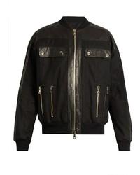 Balmain Leather Panelled Cotton Blend Bomber Jacket