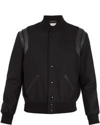 Saint Laurent Leather Trimmed Wool Bomber Jacket