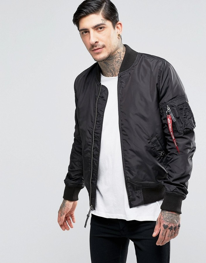 9d6b9a0fe1a ... Alpha Industries Ma 1 Bomber Jacket Slim Fit In Black ...