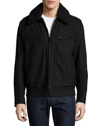 Andrew Marc Marc New York By Concord Felt Bomber Jacket Jet Black