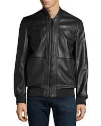Andrew Marc Marc New York By Edison Faux Leather Bomber Jacket Black