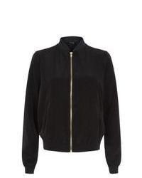 New Look Black Crepe Bomber Jacket