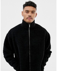 ASOS DESIGN Oversized Track Jacket In Black Borg