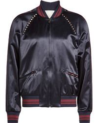 Valentino Satin Bomber Jacket With Rockstuds