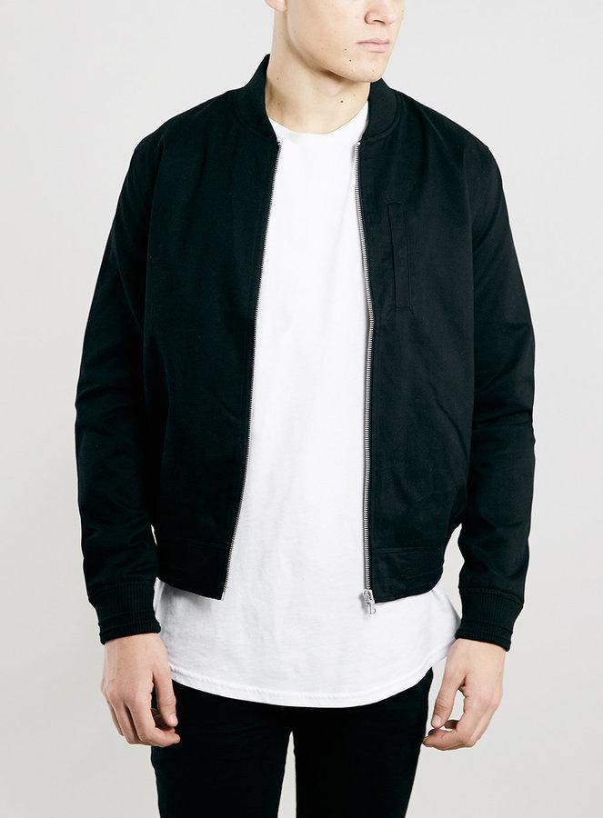 d6bb2ffb053f Topman Black Cotton Bomber Jacket