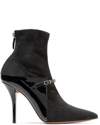 Givenchy New Feminine Patent Leather And Stretch Suede Sock Boots Black
