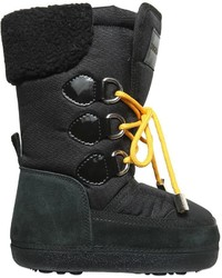 DSQUARED2 Nylon Canvas Faux Shearling Snow Boots