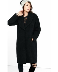 Black Boucle Wide Lapel Coat
