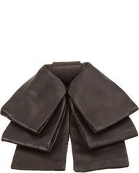 Saint Laurent Leather Triple Bow Tie Black