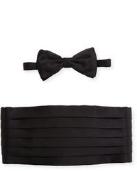 Brioni Satin Cummerbund Bow Tie Set Black