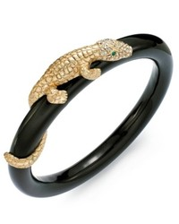 ABS by Allen Schwartz Bracelet Gold Tone Pave Crystal Alligator Black Bangle Bracelet
