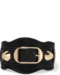 Balenciaga Arena Textured Leather And Gold Tone Bracelet Black