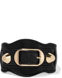 Balenciaga Arena Textured Leather And Gold Tone Bracelet Black