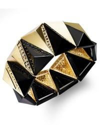 Bar III Gold Tone Black Triangular Stretch Bracelet