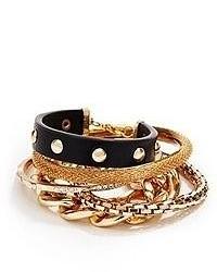 GUESS Black And Gold Tone Arm Party Bracelet Set