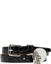 Alexander McQueen Black Croc Skull Double Wrap Bracelet