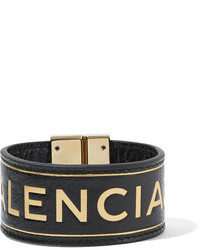 Balenciaga Blanket Embossed Textured Leather Bracelet Black