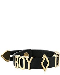 Boy Meets Girl X Roman Luxe Gold Tone Black Leather Slider Bead Bracelet