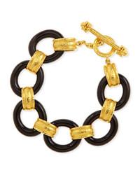 Elizabeth Locke 19k Gold Black Jade Bracelet