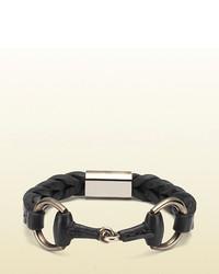Gucci Black Leather Bracelet With Horsebit Detail