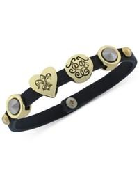Jessica Simpson Gold Tone Charm Black Bracelet