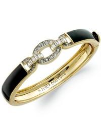 Juicy Couture Bracelet Gold Tone Black Enamel And Crystal Link Hinge Bangle Bracelet