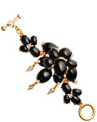 Oscar de la Renta Large Cabochon Stone And Crystal Bracelet