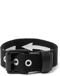 Lanvin Leather Trimmed Embroidered Canvas Bracelet