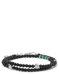 Isaia Onyx Agate And Silver Bead Wrap Bracelet