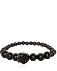 Alexander McQueen Skull Onyx Ball Bracelet