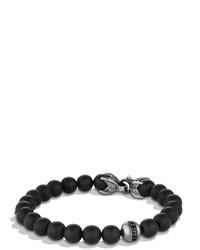 Spiritual beads bracelet with black onyx and black diamonds medium 608761