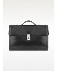 Black italian leather portfolio briefcase medium 13672