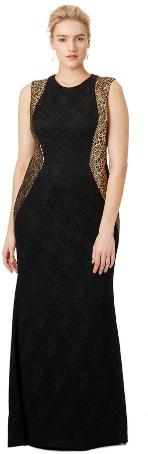 35e13d479dfc ... Black Brocade Evening Dresses Carmen Marc Valvo Golden Flourish Gown ...