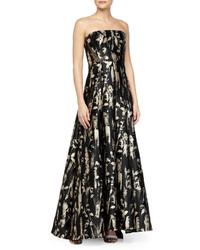 Carmen Marc Valvo Strplss Floral Brocade Gown, $1,320 | Neiman Marcus |  Lookastic