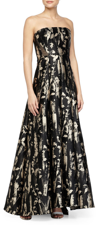 Carmen Marc Valvo Strplss Floral Brocade Gown | Where to buy & how ...